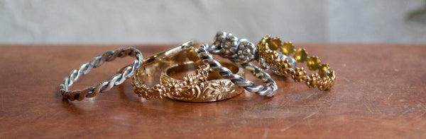 Wedding Ring Set, Wedding band Set, wedding band, gold band, boho ring, bohemian ring, matching bands, floral - With this ring 2 R2276 and 7