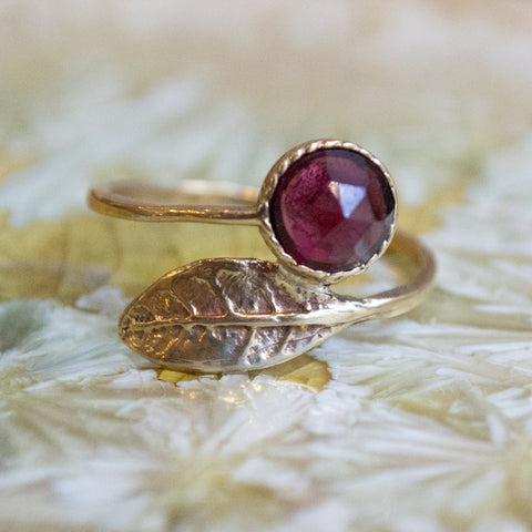 Thin ring, leaf ring, garnet ring, Golden brass ring, adjustable ring, Birthstone stacking ring, dainty ring - Gone with the wind RK2062-2