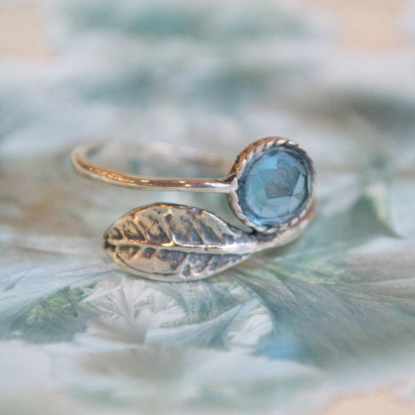 Blue topaz ring, Thin ring, leaf ring, sterling silver ring, stone ring, stone ring, stack ring, delicate ring - Gone with the wind R2062-4