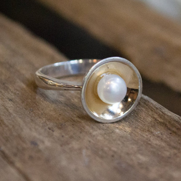 Silver rose gold ring, shiny ring, bowl ring,simple Pearl ring, June birthstone ring, two tone ring, engagement ring - Serenity R1569G