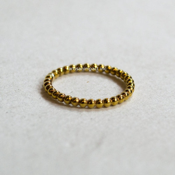 Thin balls ring, simple solid gold simple ring, Yellow gold band, 14k Gold wedding band, boho band, stacking ring, ball ring - Happy RG2282