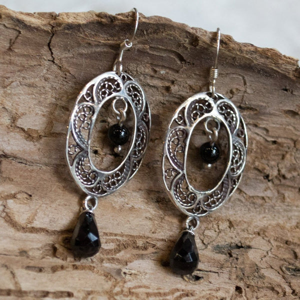 Drop silver earrings