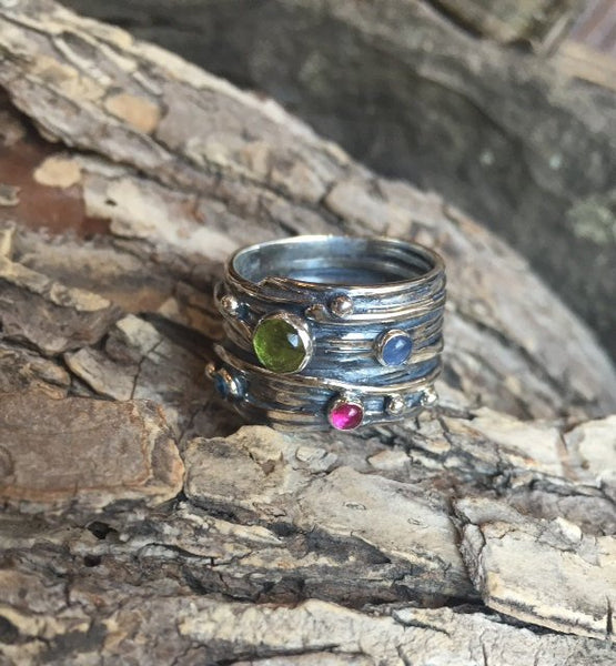 sterling silver wide gemstones ring