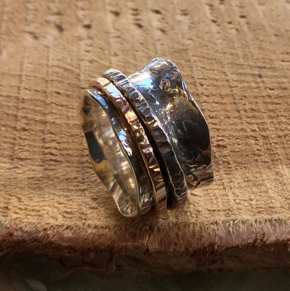 Spinners ring, leaf ring, silver band, Two tone ring, sterling silver ring, stacking ring, gold ring, hammered rings - Sturdy Love  R2301