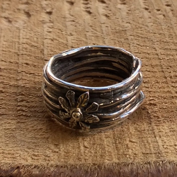 Sterling silver ring, flower ring, wire wrap band, boho ring, wide engagement ring, gypsy ring, statement ring, unique ring - Blooming R2306