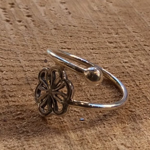 Midi ring, flower ring, tiny silver ring, hippie ring, gypsy ring, simple botanical ring, twig ring, dainty ring- A Simple Thought R2312