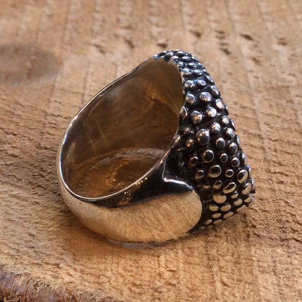Chunky silver ring, dotted silver ring, cocktail ring, big silver ring, statement ring, casual ring, boho ring - Runaway R2313