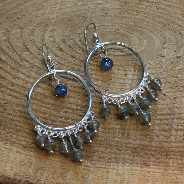 kyanite labradorite earrings