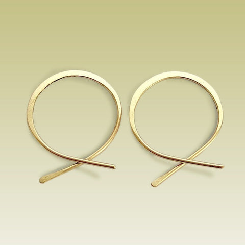 Gold Hoops, Threader earrings, Hoop Earrings, Loop Earrings, Simple Earrings, small earrings, dainty earrings, casual - Flirt E90029