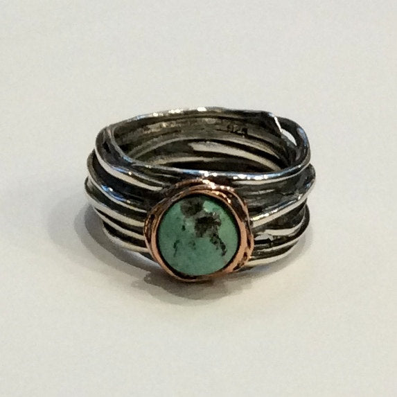 Turquoise Ring, Rose Gold silver Ring, Alternative Engagement Ring, wire wrap Ring, Two tone statement Ring - Imagine life in peace R1504BG4