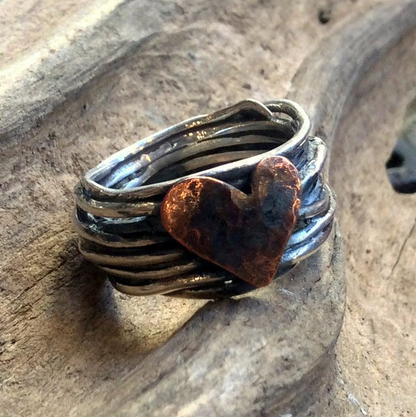 Two tones heart Ring