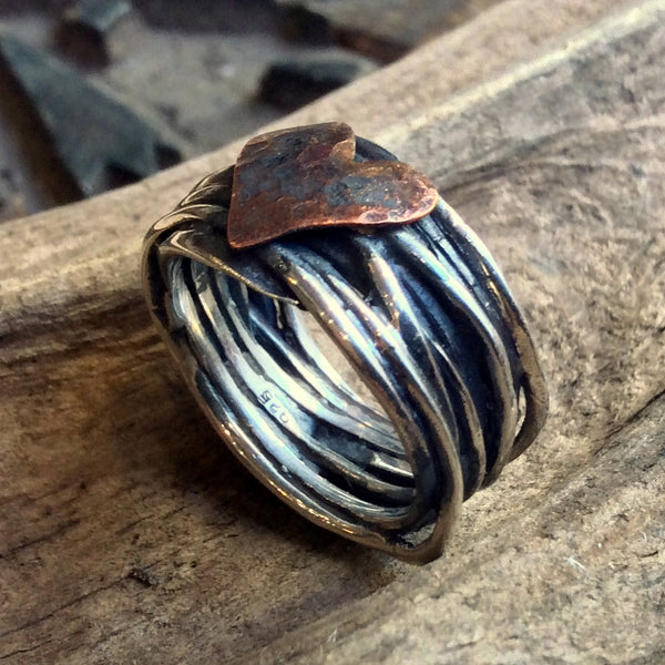 copper heart Silver Ring