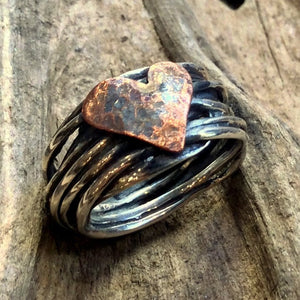 Engagement copper heart Ring