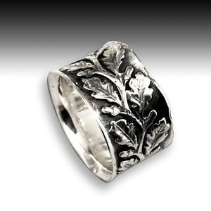 Silver bohemian ring, vine ring, Leaf silver ring, wide silver band, leaves ring, leaf band, oxidized ring, wedding band - Connected R2093S