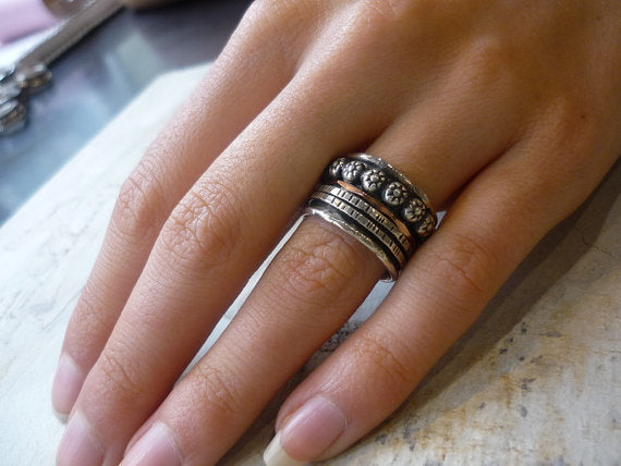 Silver wedding band, meditation band, silver gold ring, stacking ring, boho ring, spinner band , mixed metal ring - Lonely warrior R1075K