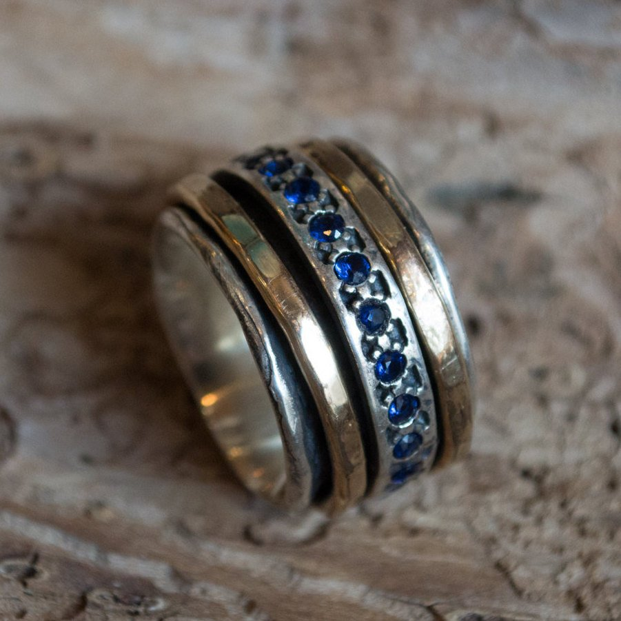 Sapphires ring, Multistone ring, Meditation Ring, silver gold filled ring, wide silver ring, wedding ring, fidget ring - Endlessly R1075L-5