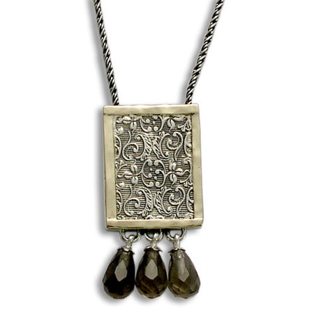 Silver Filigree Necklace, Silver Gold Necklace, Filigree Woodland Necklace, Smoky Quartz Briolette, Square Pendant- Revolving doors N4545