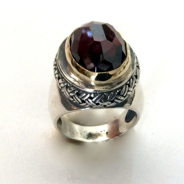 Statement ring, garnet ring, cocktail ring, sterling silver ring, silver gold ring, stone ring, two tones ring - Love me tomorrow R2055G-1