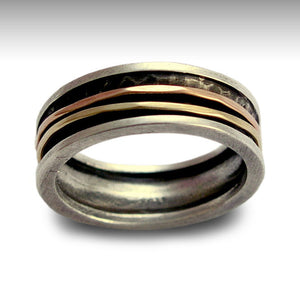 Mens Wedding Band, Men Silver Ring, Silver Gold Ring, Gold Spinner Ring, Unisex Ring Band, Meditation - Walk with me R1079B