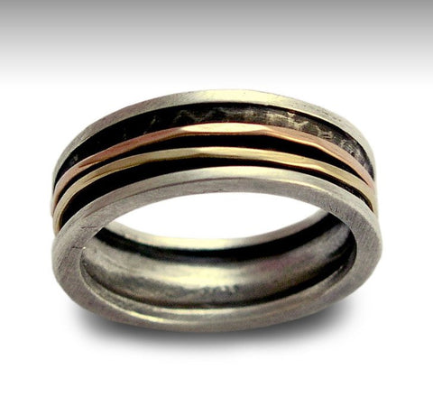 Mens band, Silver wedding Band, Silver Gold Ring, rustic silver ring, Unisex Band, two tones ring, Gold Spinner Ring - Walk with me R1079B