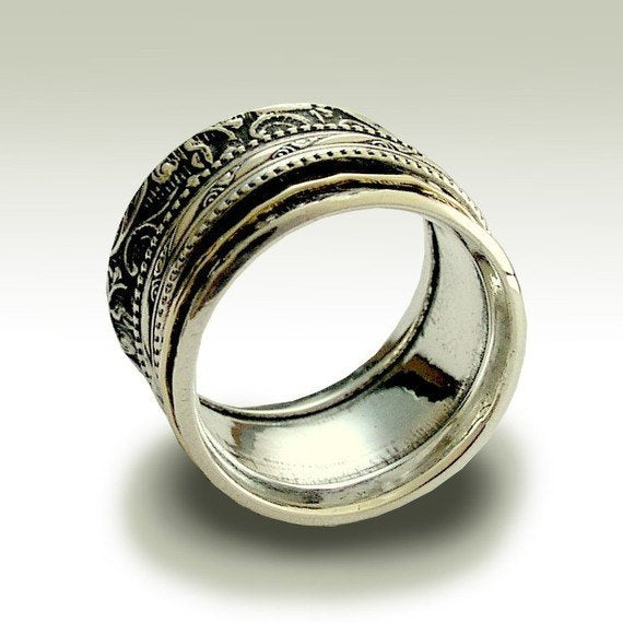 filigree wide silver gold band