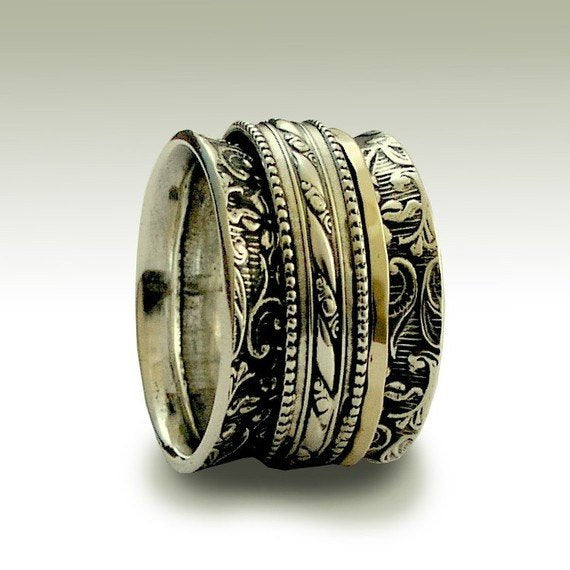 wide silver meditation ring