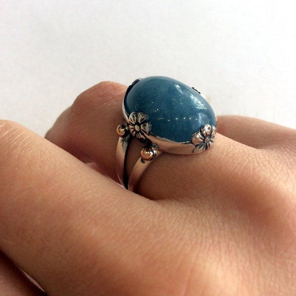 Aquamarine ring, floral ring, sterling silver ring, cocktail ring, Milky aquamarine ring, gemstone ring, silver gold ring - La Mer R2061