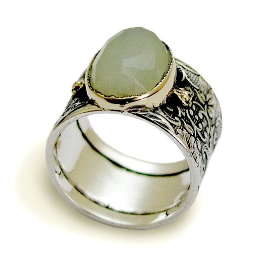 Jade ring, Wide ring, sterling silver ring, gemstone ring, silver gold ring, Oval stone ring, filigree ring, wide band - Green sky R1625