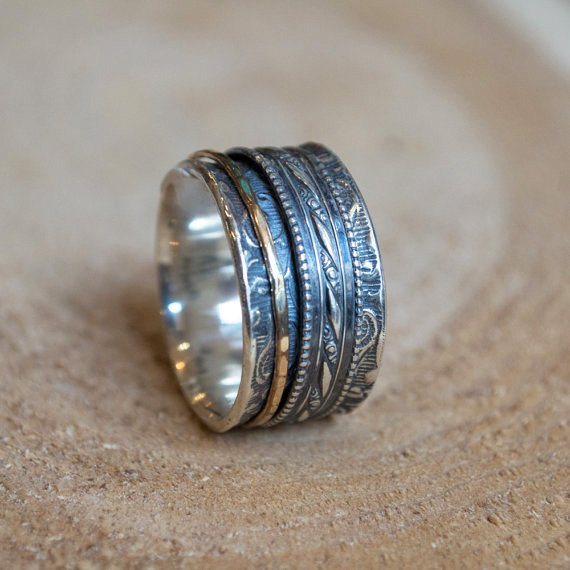 Unisex Wedding band, wide silver ring, gold silver ring, spinners band, filigree ring, Boho jewelry, meditation band - In my heart R1209D