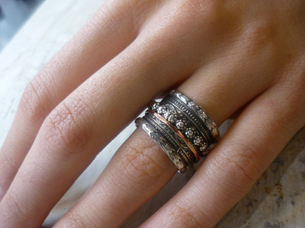 Silver gold spinner ring, wedding ring, bohemian jewelry, Silver band, gypsy band, stack band, wide band - It's okay to believe R1741A