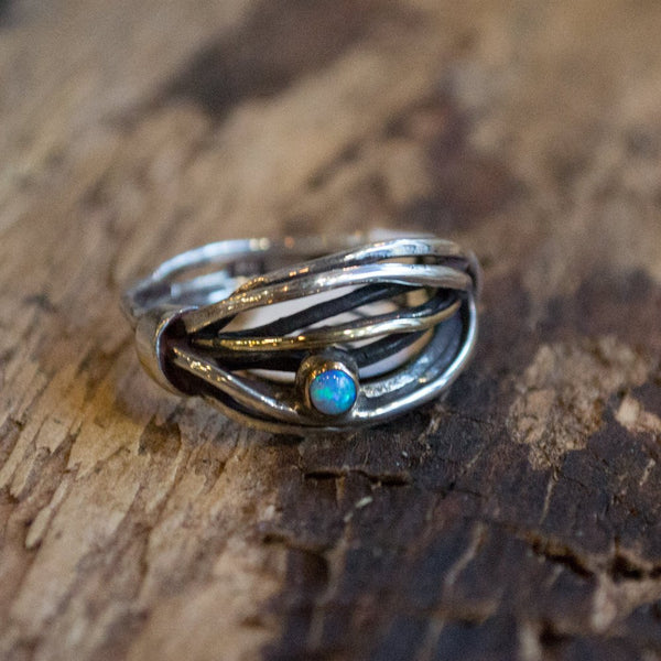 Hippie ring, silver ring, wire band, twotone ring, blue topaz ring, gypsy ring, gemstone Ring, boho ring, unique ring - Love is found R1516B