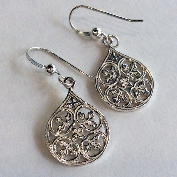 Sterling silver earrings, dangle earrings, drop earrings, shiny earrings, casual earrings, filigree earrings, simple - Magic moments E8002