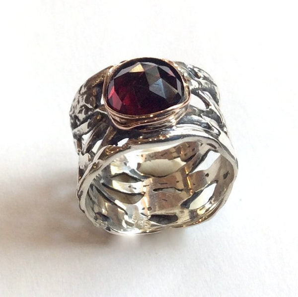 Sterling Silver garnet ring, braided silver band, wide silver ring, oxidized silver ring, engagement ring, two tones - Endless love R2153