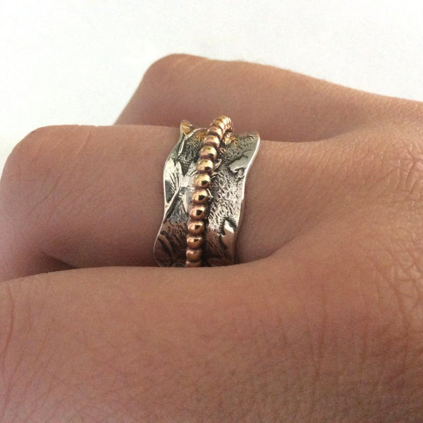Golden brass spinner ring, Twotone Wedding band, unisex silver ring, meditation ring, gypsy ring, twig ring, vine ring, leaf - Change R2194