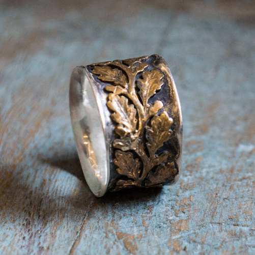 Vine ring, silver band, two tones ring, nature ring, brass silver ring, wide unisex band, leaf ring, botanical ring - Connected R2093B