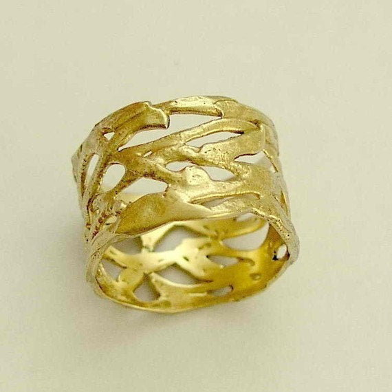 Solid gold ring, Yellow gold wedding ring, wide ring, brushed gold ring, unique wedding ring, bohemian ring  - The love of your life RG1345