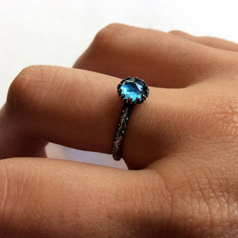 London blue topaz ring, Delicate ring, stacking ring, gemstone ring, Solitaire ring, Sterling silver ring, boho silver ring - Divine R2156