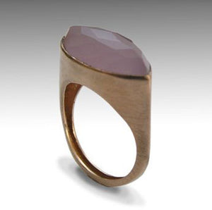 Rose gold ring, rose chalcedony ring, Alternative engagement ring, Solid Pink gold ring, pink gemstone ring - First impressions RG1225-1