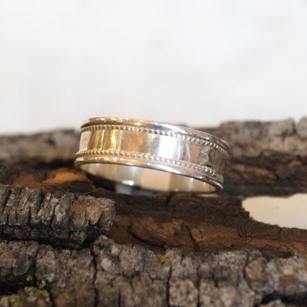 Silver Wedding band, fidget ring, anxiety ring, unisex band, sterling silver band,spinning ring, wedding ring - shimmering light  R2103