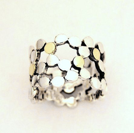 Sterling silver ring, wide ring, dotted ring, silver yellow gold ring, silver band, two toned ring, polka dot ring - Yet to discover R1176G