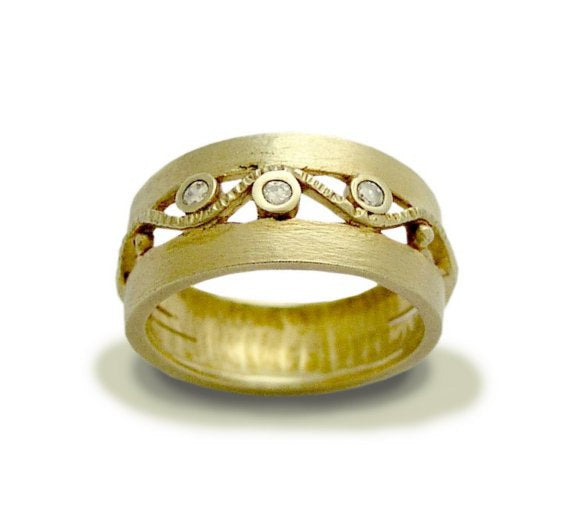 Solid yellow gold wedding diamond band