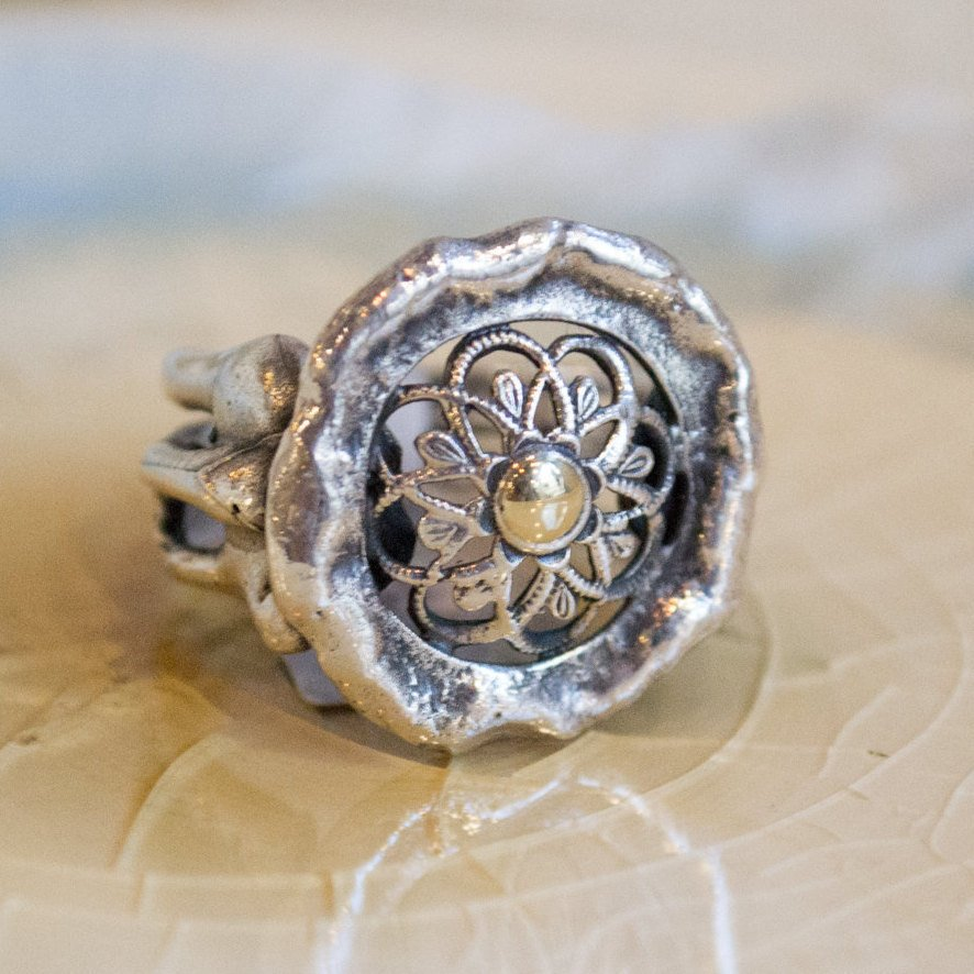 Silver gold ring, flower ring, Statement Ring, sterling silver ring, organic ring, lace ring, casual ring, round silver ring - Delight R1729