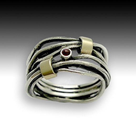 Sterling silver ring, gold ring, unisex ring, mixed metal ring, wrapped ring, garnet ring, stone ring, silver band- Love of my life R1514GX