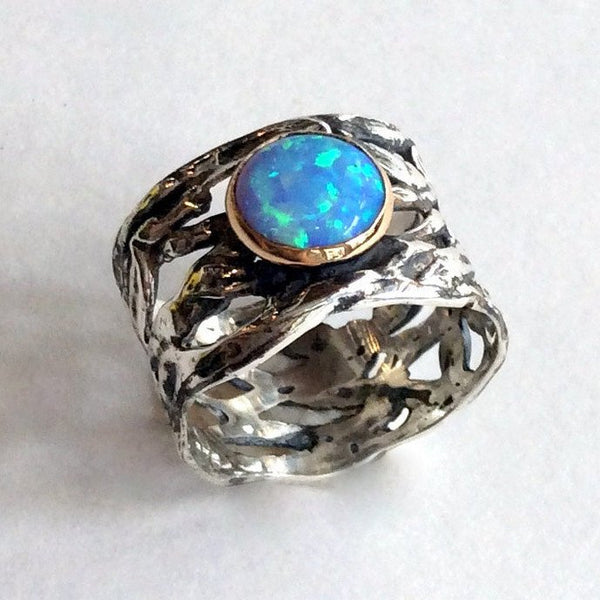 Sterling silver gold ring, Blue opal ring, gemstone ring, cocktail ring, two tone ring, boho ring, wide silver band - That other place R2136