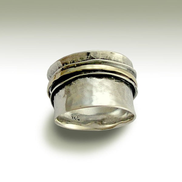 Silver wedding ring, unisex band, mens and womens band, wedding band, unisex ring, wide silver band, spin ring - Stay on your mind R1026GA