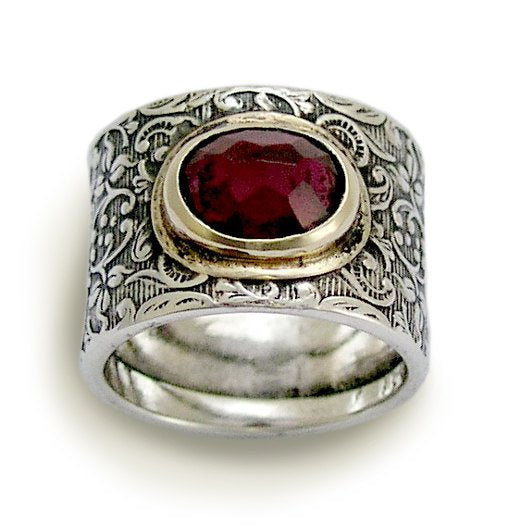 Garnet ring, January birthstone ring, sterling silver ring, Wide Silver Ring, filigree ring, silver gold ring, vine ring - Craving R1624