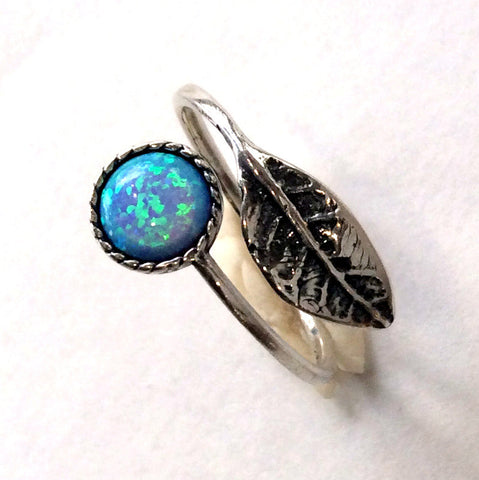 Leaf ring, botanical ring, dainty silver ring, blue opal ring, twig ring, adjustable ring, twig ring, boho ring - Gone with the wind R2062-1