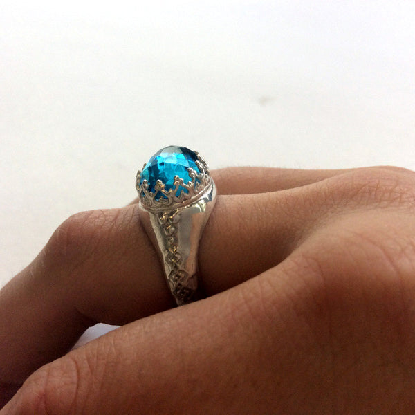 London topaz ring, sterling silver ring, statement ring, Blue stone ring, Victorian crown ring, cocktail ring, shiny ring - Somehow R2052-1