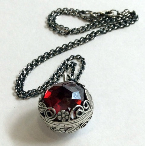 Two sides pendant, ball necklace, floral pendant, sterling silver necklace, necklace with pendant, birthstones pendant - Neverland N2000-1