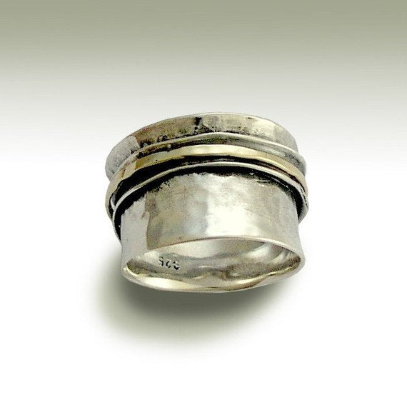 Sterling silver ring, unisex band, worry ring, silver gold ring, spinner ring, meditation ring, fidget jewelry - Stay on your mind R1026GB